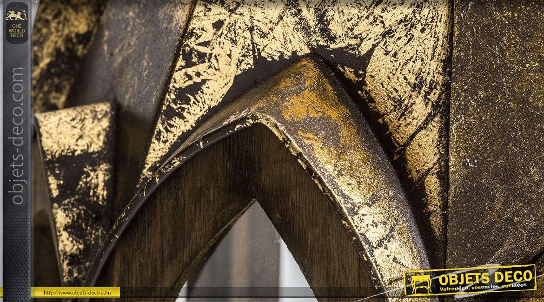 Série de 2 grandes lanternes style gothique sapin patine dorée 130 cm