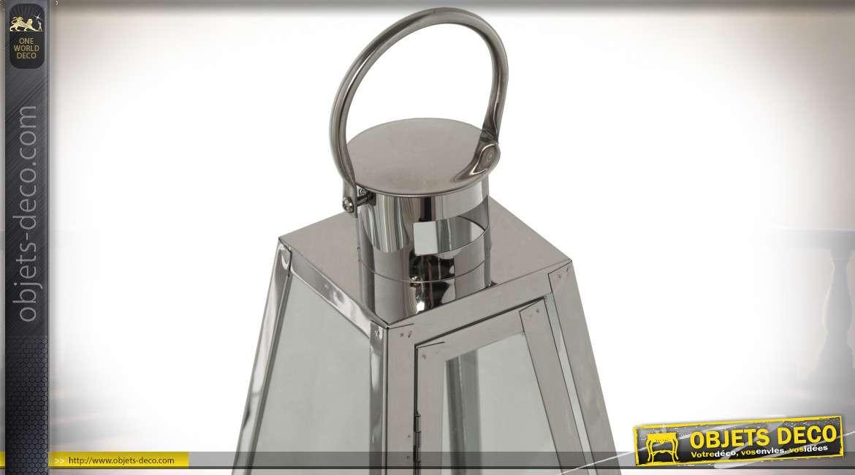 Lanterne design pyramidale en métal chromé argenté 55 cm