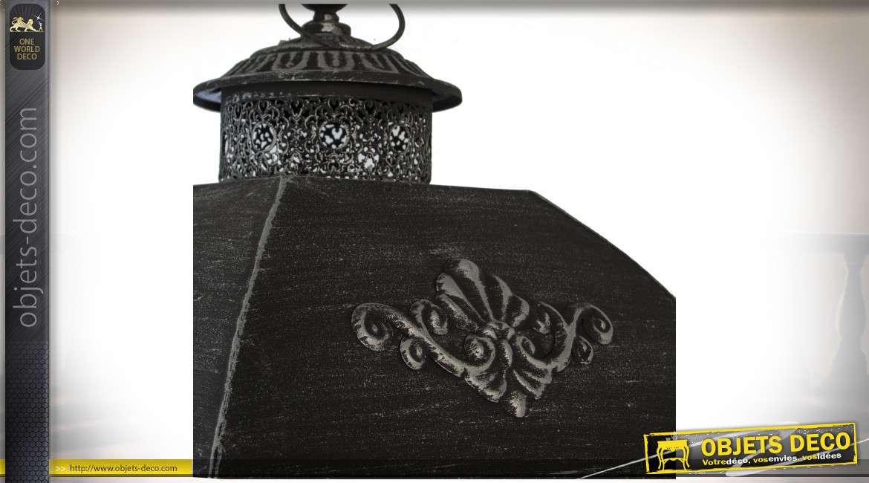 Série de 2 grandes lanternes en bois clair et métal gris anthracite 142 cm