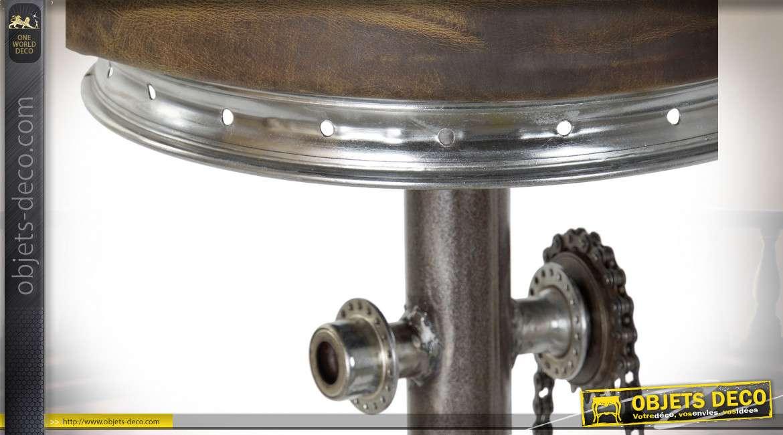 Tabouret de bar industriel avec pédalier de vélo 82 cm