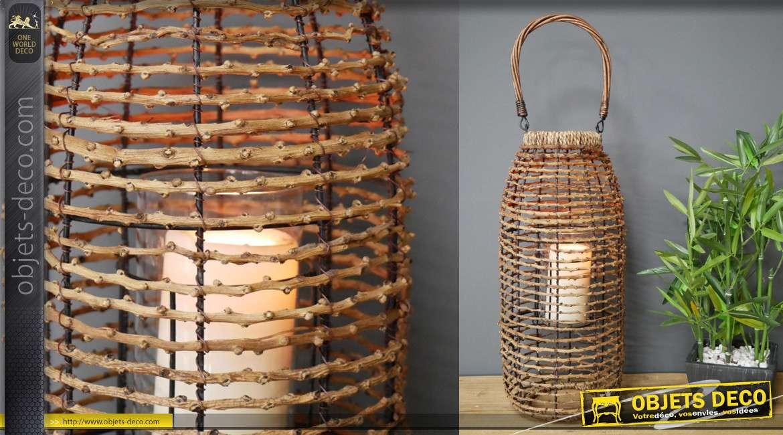 Lanterne à poser ou à suspendre, style moderne naturel en rotin effet tressé avec grande hanse 45cm