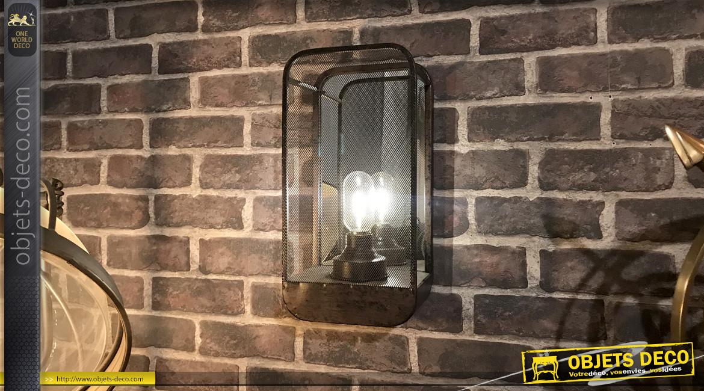 Applique murale en métal de style industriel esprit lanterne, fond miroité et partie avant grillagée, 36cm
