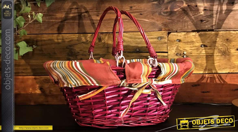 Panier en noisetier teinté rubis, anses mobiles et doublure 100% coton motifs rayures géométriques