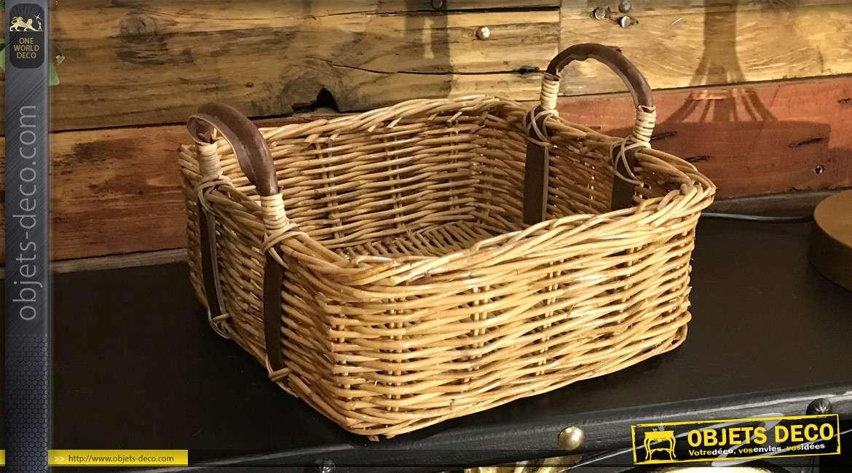 Corbeille en poelet de forme carrée, finition naturel avec anses en cuir marron effet vieilli, 26cm