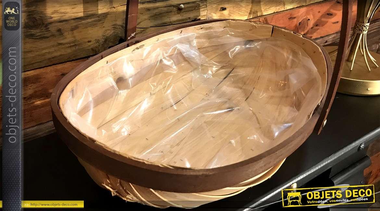 Corbeille en bois léger finition naturel et foncé avec grande anse mobile et doublure intérieur plastique 40cm