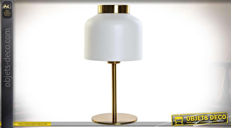 LAMPE DE TABLE MÉTAL VERRE 18X18X37 BLANC