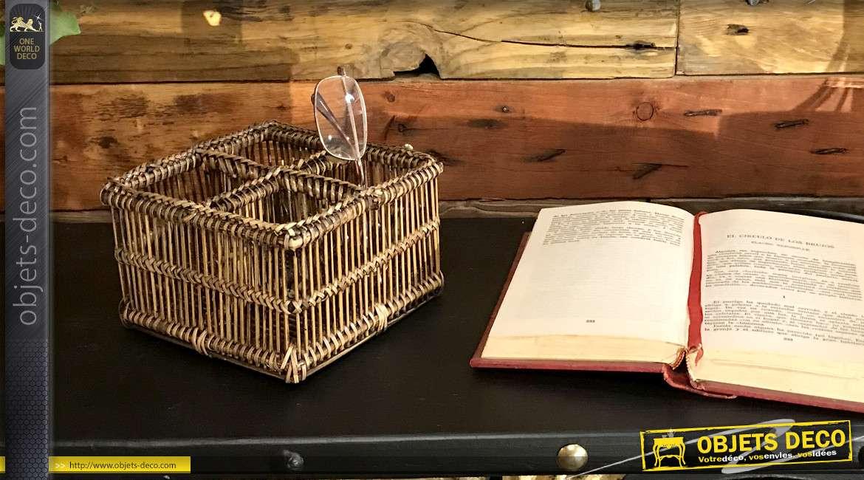 Panier compartimenté de forme carrée en rotin naturel effet vieilli foncé, reflets dorés, 14cm