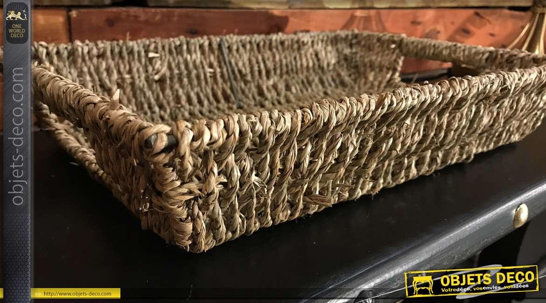 Manne de style rustique en métal et corde tressée, finition effet naturel, passe main de chaque cotés,  36cm