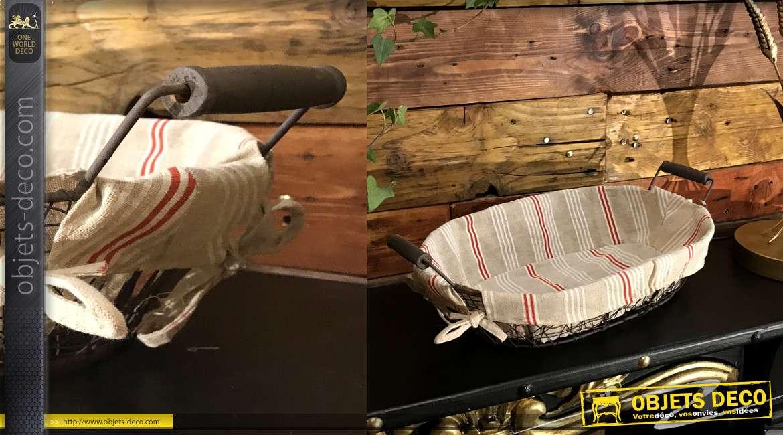 Panière à pain en métal effet vieilli, deux anses latérales et doublure en jute motifs bayadères esprit basque, 38cm