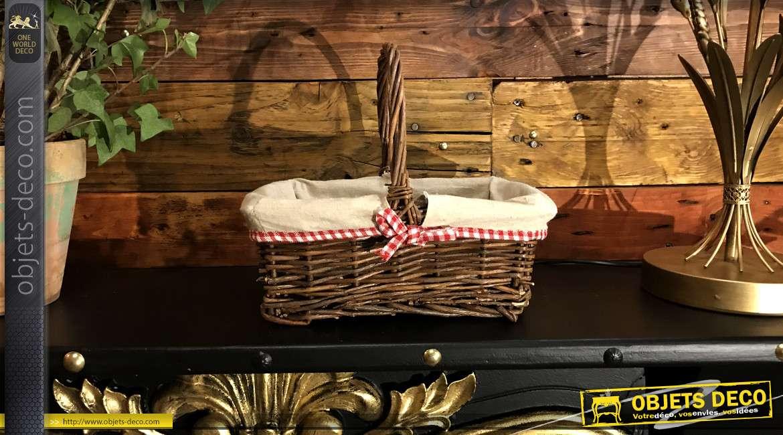Panier en osier emblématique, doublure jute et motifs carreaux vichy, grande anse de transport, 27cm