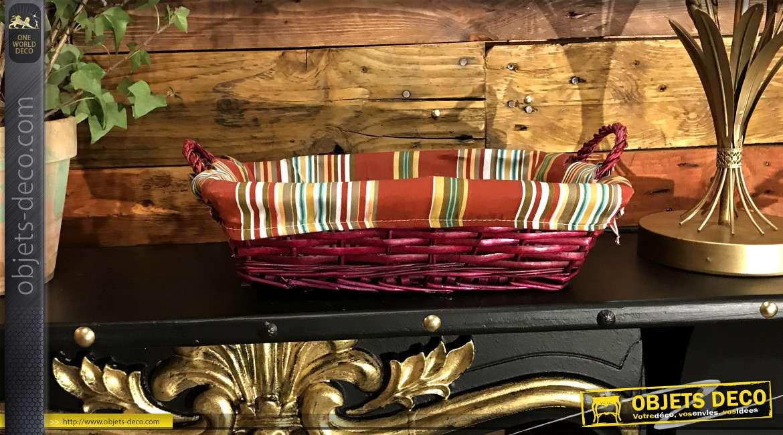 Panier en éclisse de noisetier teintée rose bordeaux, anses de transport et doublure coton motifs bayadères, 38cm