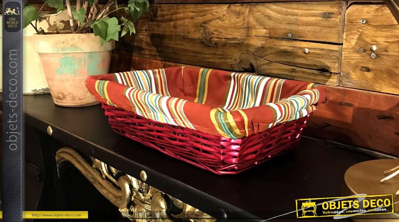 Corbeille en éclisse de noisetier teinté fuchsia bordeaux, doublure en coton motifs bayadères, 33cm