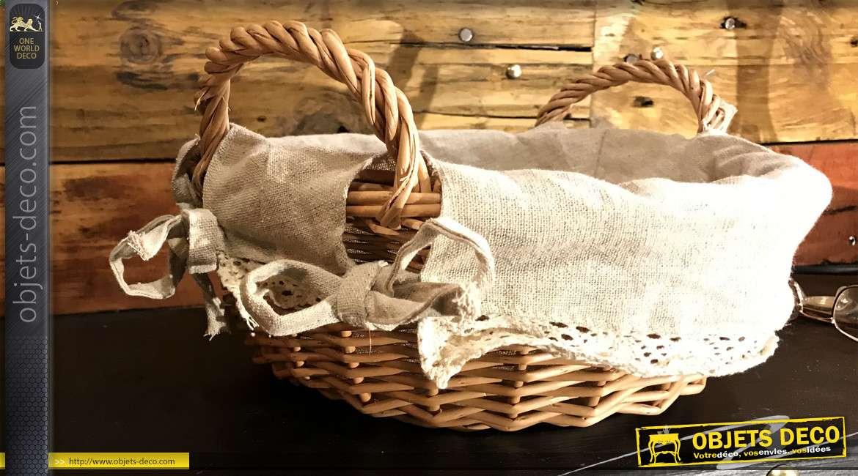 Panier en osier finition clair naturel, anses latérales et doublure en jute bordée de dentelle blanche, 26cm