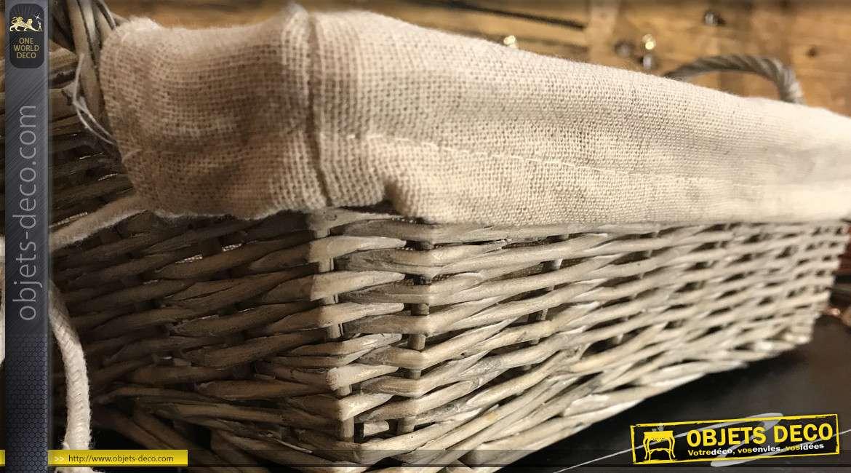 Manne en osier naturel finition gris ancien, deux grandes anses et doublure intérieure en jute unie, 30cm