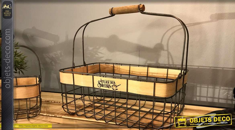 Série de deux paniers en métal noir style rustique avec anse de transport et ruban de bois décoratif, 32cm