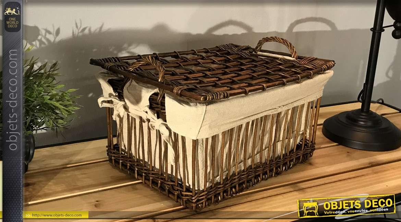 Panier coffret en osier brut finition antique avec couvercle, intérieur doublé toile de jute, anses de transport, 38cm