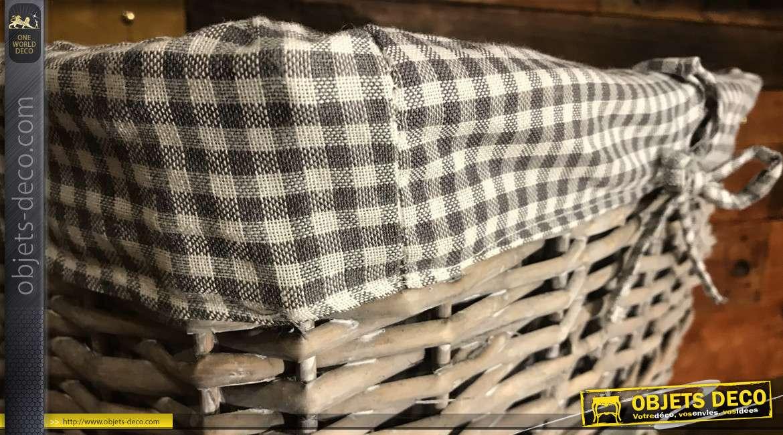 Grande corbeille en osier fendu finition gris antique, doublure en coton imprimée motifs vichy blanc et gris, 52cm