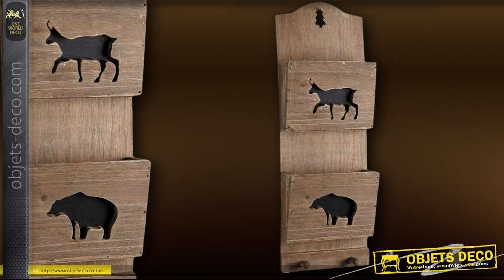 porte lettres mural d co en bois et m tal. Black Bedroom Furniture Sets. Home Design Ideas