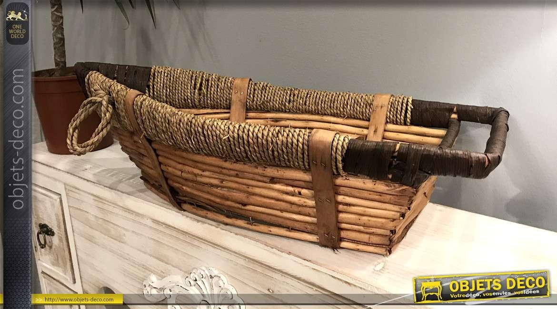 Grande corbeille en forme de bateau, en bois, osier et corde, effet ancien, esprit bord de mer, 63cm