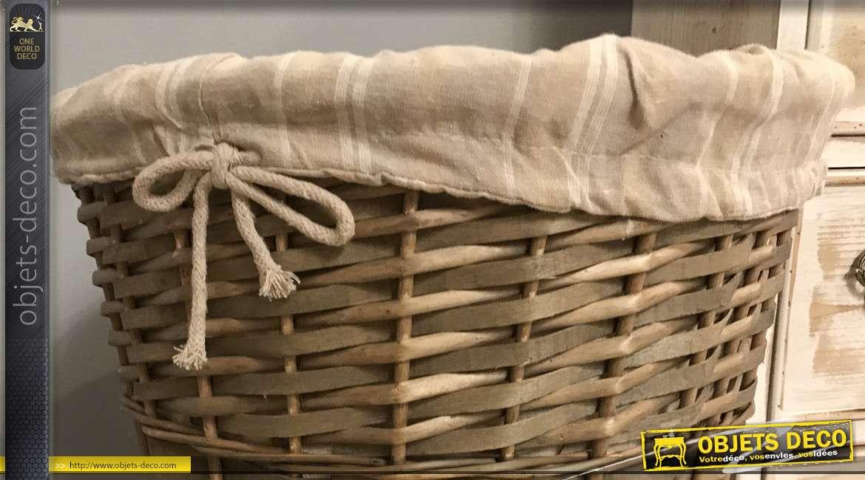 Panière à linge en éclisse de noisetier effet légèrement cuivré, intérieur doublé coton motifs rayures, 53cm