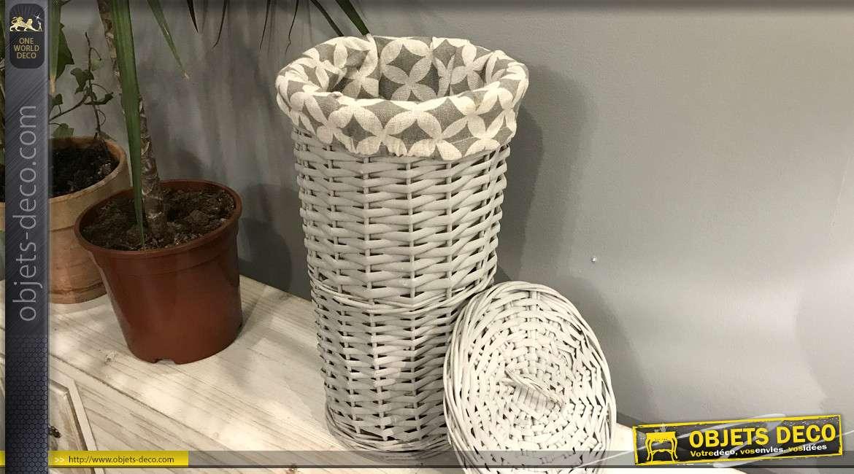 Panier en osier en forme de tube avec couvercle, finition gris clair,  pour rouleaux de papier hygiénique, 36cm