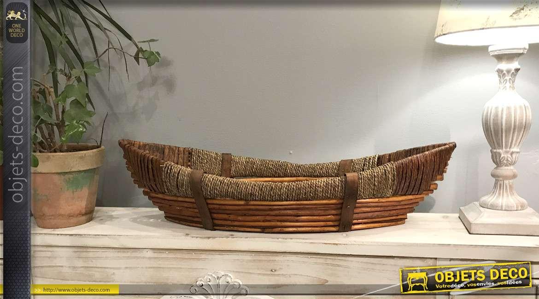 Grande corbeille en forme de pirogue, en osier bois et corde, esprit bord de mer, teintes contrastées, 65cm