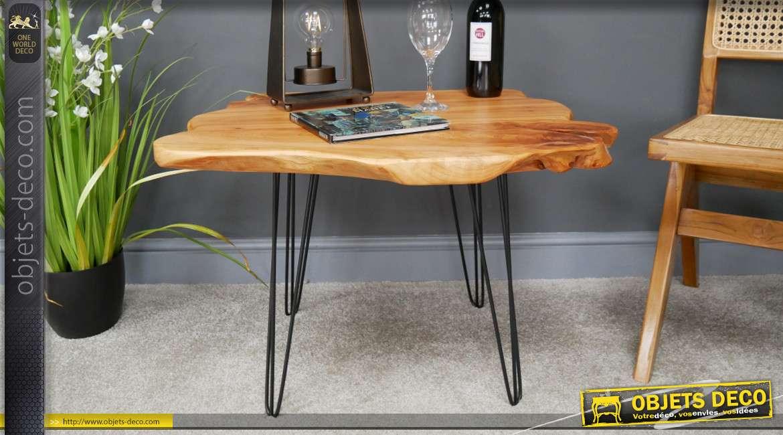 Table d'appoint en bois et métal, style moderne épuré, bords bruts et finition juste ciré, 73cm