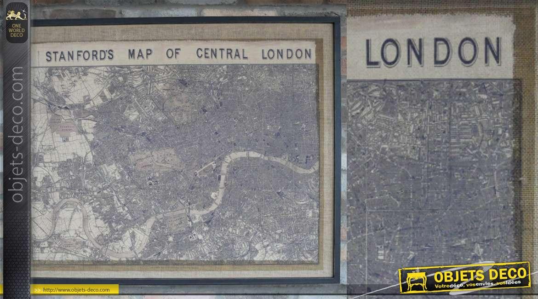 Grand tableau en bois et jute représentant une ancienne carte de Londres, encadrement noir et intérieur effet sépia, 102 cm