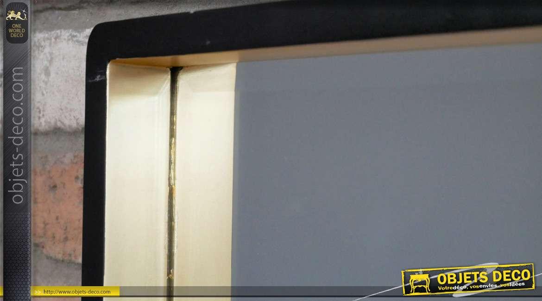 Miroir en bois style Art Déco, finition noir mat et doré, encadrement effet profond, 33cm