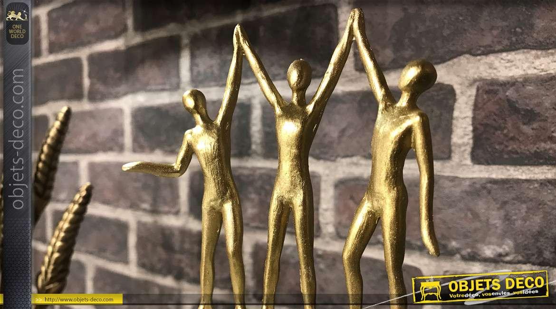 Trophée de la victoire en résine, esprit atteinte d'objectif après ascension, personnages dorés, 40cm