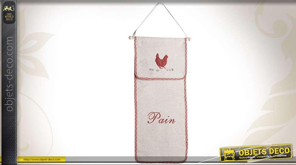 Huche à pain murale en coton et lin, motif poule