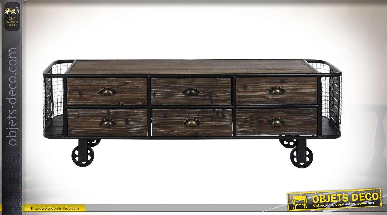 Meuble TV en bois et métal de style industriel, noir et marron foncé