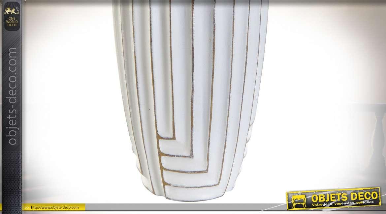 LAMPE DE TABLE RÉSINE COTON 40X40X76 DÉCAPAGE