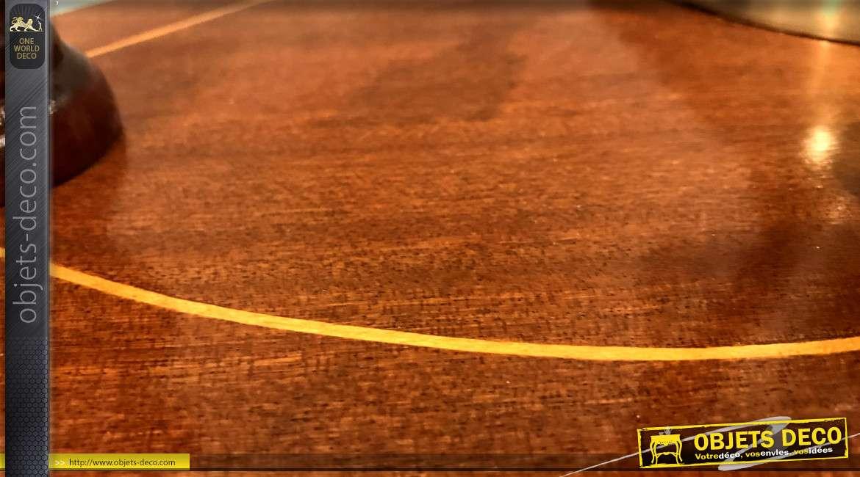 Console d'entrée rétro en bois massif, deux étagères, pieds tournés et plateaux effet marqueté, 72cm