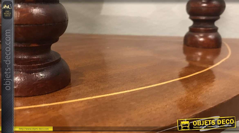 Console d'appoint demie lune en bois massif, pieds tournés et plateaux effet marqueté doré, 48cm
