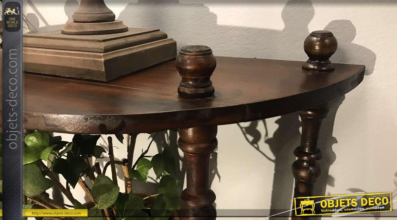 Console d'appoint en bois massif finition brun foncé, pieds tournés, de style vieille ferme, 59cm
