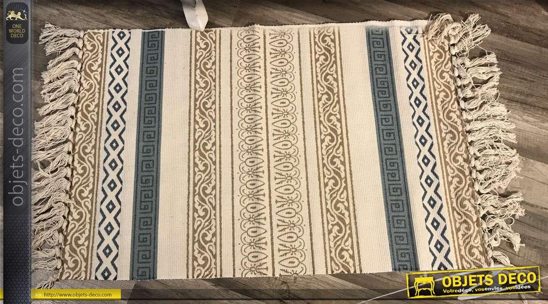 Tapis esprit Kilim avec motifs style boho colorés blanc, bleu et moutarde, 60x90