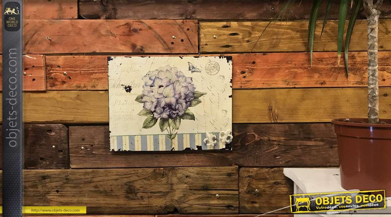 Plaque magnétique avec deux aimants en fleur de lys, style vintage effet vieilli, pour cuisine ou bureau