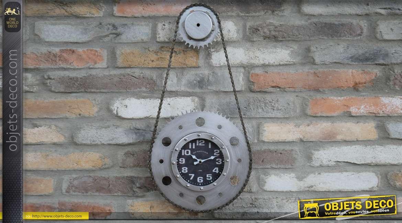 Horloge murale en métal esprit chaine et dérailleur de vélo, finition anthracite effet brossé, 60cm