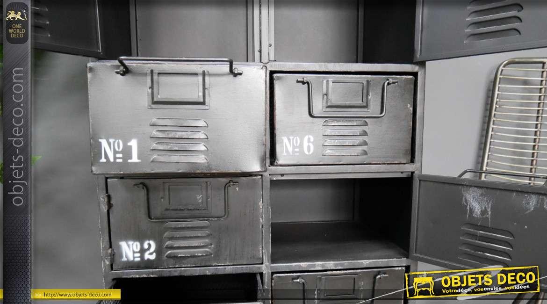Meuble de rangement 10 tiroirs en métal, de style industriel avec plateau en bois finition naturel, 111cm