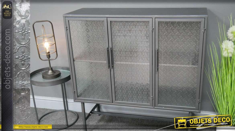 Buffet en métal de style industriel, trois portes vitrées, une étagère centrale et deux espaces de rangement 95cm