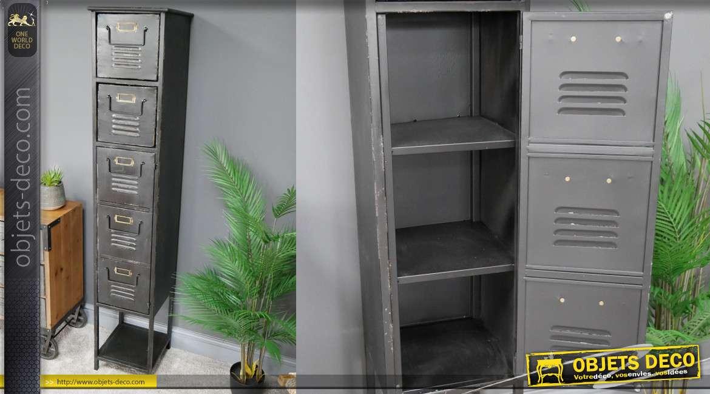 Meuble colonne de style industriel, deux tiroirs et une porte, 5 espaces de rangement, 162cm de haut