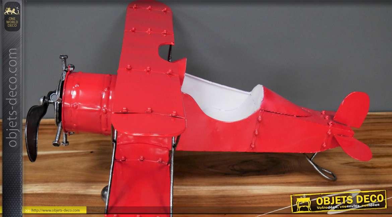 Reproduction d'un ancien avion type biplan en métal, finition rouge vif et vieil argent, 80cm
