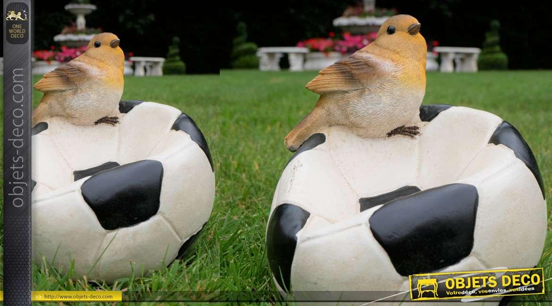 Mangeoire pour oiseaux originale en résine, forme de ballon dégonflé avec rouge gorge, 18cm