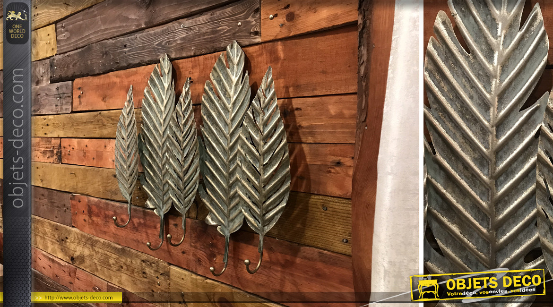 Décoration murale en forme de feuilles, en métal finition bronze vieilli, avec 5 crochets de suspension, 55cm
