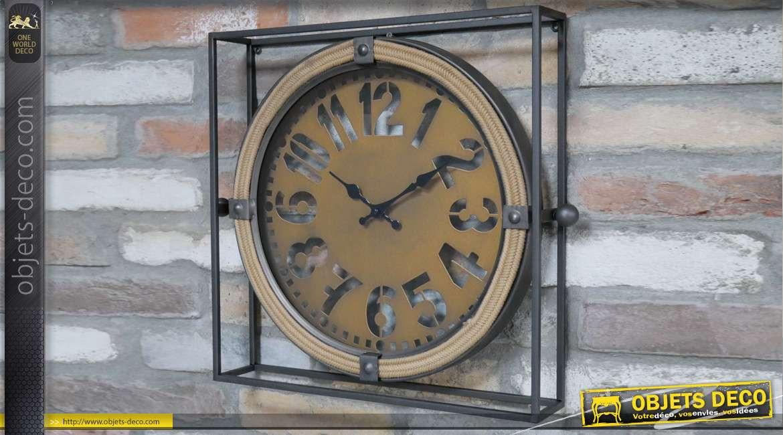 Horloge murale en métal de style industriel avec cadran cordé, finition anthracite et cuivré mat, 43cm