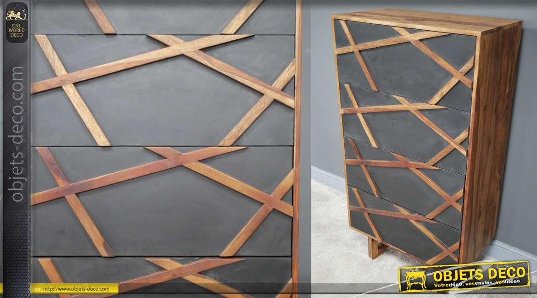 Meuble à tiroirs type commode en bois de rose massif, finition naturel et façades effet ardoise, 131cm de haut