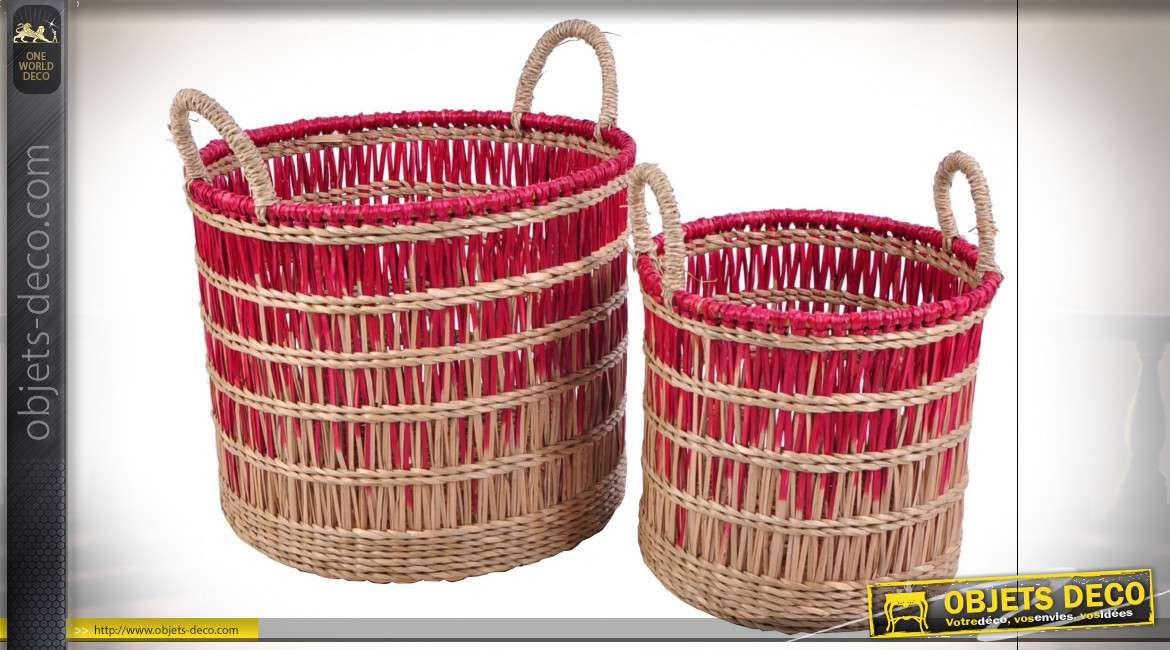CORBEILLE SET 2 SEAGRASS 36X36X29 NATUREL ROUGE