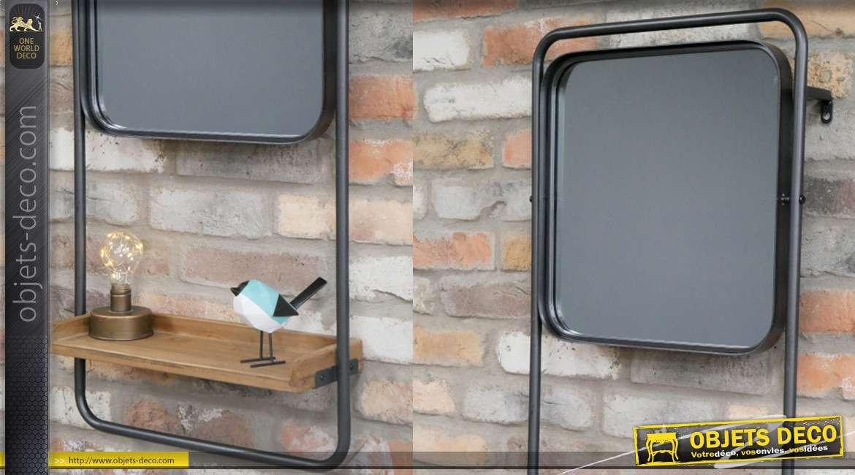 Miroir étagère murale en métal finition gris/noir et bois de sapin effet brut, de style moderne linéaire, 84cm