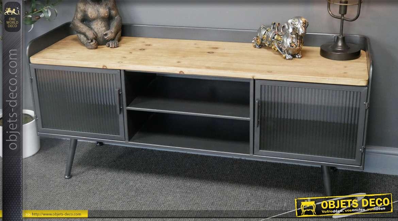 Meuble télé de style industriel soft, en métal finition anthracite, plateau en bois de sapin et deux portes vitrées, 130cm